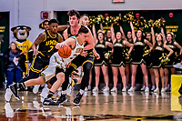 23 January 2019: University of Vermont Catamount Guard Ernie Duncan, a Redshirt Senior from Evansville, IN, drives to the basket in the second half against the UMBC Retrievers at Patrick Gymnasium in Burlington, Vermont. The Catamounts fell to the Retrievers 74-61 who handed the Cats their first America East loss of the season. Mandatory Credit: Ed Wolfstein Photo *** RAW (NEF) Image File Available ***