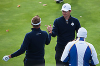 25.09.2014. Gleneagles, Auchterarder, Perthshire, Scotland.  The Ryder Cup.  Justin Rose (EUR) and Ian Poulter (EUR) on the first tee during his practise round.