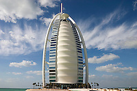 Dubai, United Arab Emirates. Burj al Arab Hotel at Jumeira Beach designed by Thomas Wills Wright, architect, of W. S. Atkins..