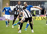 St Mirren v St Johnstone…29.08.21  SMiSA Stadium    SPFL<br />Shaun Rooney is closed down by Scott Tanser<br />Picture by Graeme Hart.<br />Copyright Perthshire Picture Agency<br />Tel: 01738 623350  Mobile: 07990 594431