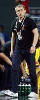 Kestutis KEMZURA (Lithuania) head coach, reacts during the quarter-final World championship basketball match against Argentina in Istanbul, Lithuania-Argentina, Turkey on Thursday, Sep. 09, 2010.  (Novak Djurovic/Starsportphoto.com).