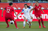 CARSON, CA - FEBRUARY 07: Lixy Rodriguez #12 of Costa Rica attempts to move past Christine Sinclair #12 of Canada during a game between Canada and Costa Rica at Dignity Health Sports Park on February 07, 2020 in Carson, California.