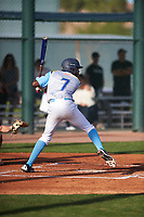 William Chamberlain (7) of Mater Dei Catholic High School in San Diego, California during the Baseball Factory All-America Pre-Season Tournament, powered by Under Armour, on January 14, 2018 at Sloan Park Complex in Mesa, Arizona.  (Zachary Lucy/Four Seam Images)