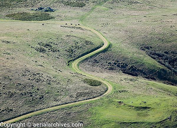 aerial photograph rural winding dirt road San Mateo County, California