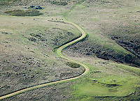 aerial photograph rural winding dirt road San Mateo County, California