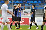 Jubel nach dem Spiel v.l. Waldhofs Marcel Seegert (Nr.5), Waldhofs Jesper Verlaat (Nr.4) und Waldhofs Gerrit Gohlke (Nr.27)  beim Spiel in der 3. Liga, SV Waldhof Mannheim - FC Ingolstadt.<br /> <br /> Foto © PIX-Sportfotos *** Foto ist honorarpflichtig! *** Auf Anfrage in hoeherer Qualitaet/Aufloesung. Belegexemplar erbeten. Veroeffentlichung ausschliesslich fuer journalistisch-publizistische Zwecke. For editorial use only. DFL regulations prohibit any use of photographs as image sequences and/or quasi-video.