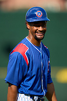 South Bend Cubs coach Eric Patterson (39) during a game against the Quad Cities River Bandits on August 20, 2021 at Four Winds Field in South Bend, Indiana.  (Mike Janes/Four Seam Images)