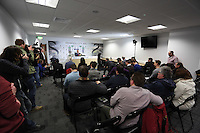 Thursday 06 February 2014<br /> Pictured: Cameramen and journalists in the press room.<br /> Re: The first Swansea City FC press conference with Garry Monk as head coach after the departure of Michael Laudrup, at the Liberty Stadium, south Wales.