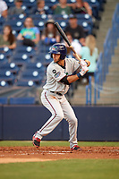 Fort Myers Miracle second baseman Alex Perez (2) at bat during a game against the Tampa Yankees on April 12, 2017 at George M. Steinbrenner Field in Tampa, Florida.  Tampa defeated Fort Myers 3-2.  (Mike Janes/Four Seam Images)