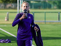 Anderlecht's Jarne Teulings (16) pictured during the warm up before a female soccer game between the women teams of Zulte Waregem B Dames and RSC Anderlecht Ladies on the 1/16 th qualifying round for the Belgian Womens Cup 2020  2021 , on saturday 26 th of September 2020  in Zulte , Belgium . PHOTO SPORTPIX.BE | SPP | SEVIL OKTEM
