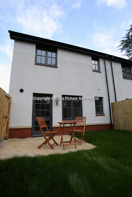 Pictured: A table and chairs in the back garden of one of the affordable properties. Wednesday 26 April 2017<br /> Re: Waterstone Homes' most recent property development Howell's Reach, is in Derwen Fawr, Swansea and is made up of 13 luxury family homes, and also includes five affordable homes.