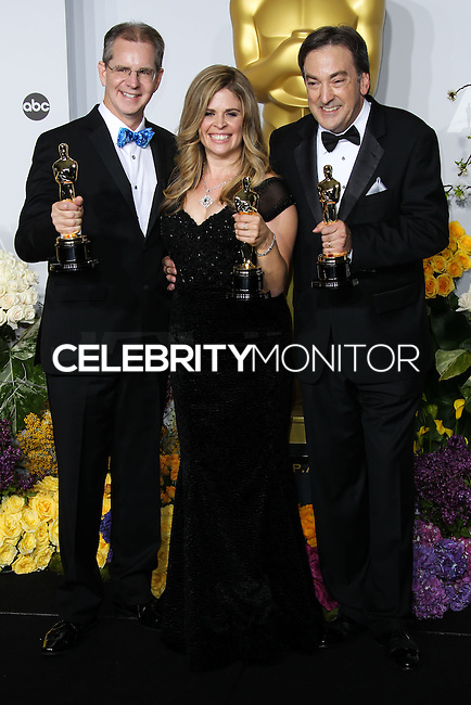 HOLLYWOOD, LOS ANGELES, CA, USA - MARCH 02: Chris Buck, Jennifer Lee, Peter Del Vecho at the 86th Annual Academy Awards - Press Room held at Dolby Theatre on March 2, 2014 in Hollywood, Los Angeles, California, United States. (Photo by Xavier Collin/Celebrity Monitor)