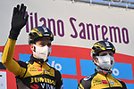 Wout Van Aert (BEL) and Team Jumbo-Visma at sign on before the start of the 112th edition of Milan-San Remo 2021, running 299km from Milan to San Remo, Italy. 20th March 2021. <br /> Photo: LaPresse/Gian Mattia D'Alberto | Cyclefile<br /> <br /> All photos usage must carry mandatory copyright credit (© Cyclefile | LaPresse/Gian Mattia D'Alberto)
