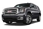 Stock pictures of low aggressive front three quarter view of a 2015 GMC Yukon Xl Sle 5 Door Suv 2WD Low Aggressive