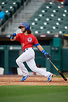 Buffalo Bisons Bo Bichette (13) hits a single during an International League game against the Indianapolis Indians on June 20, 2019 at Sahlen Field in Buffalo, New York.  Buffalo defeated Indianapolis 11-8  (Mike Janes/Four Seam Images)