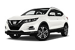 Stock pictures of low aggressive front three quarter view of a 2017 Nissan Qashqai N Connect 5 Door SUV