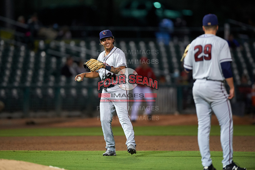 Lancaster JetHawks third baseman Colton Welker (24) during a California League game against the Inland Empire 66ers at San Manuel Stadium on May 18, 2018 in San Bernardino, California. Lancaster defeated Inland Empire 5-3. (Zachary Lucy/Four Seam Images)
