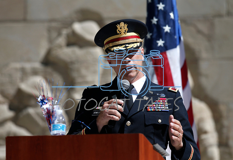 Col. Troy Armstrong speaks at the Nevada National Guard's 23rd annual Flag Day ceremony in Carson City, Nev., on Monday, June 14, 2021. <br /> Photo by Cathleen Allison