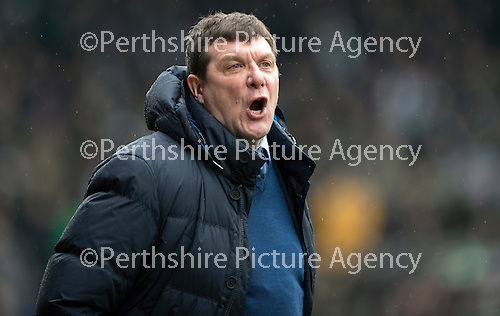 St Johnstone v Celtic…05.02.17     SPFL    McDiarmid Park<br />Saints manager Tommy Wright shouts at the linesman<br />Picture by Graeme Hart.<br />Copyright Perthshire Picture Agency<br />Tel: 01738 623350  Mobile: 07990 594431