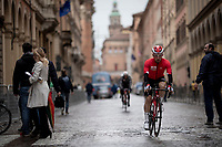 Victor Campenaerts (BEL/Lotto Soudal) to the rainy race start in Bologna<br /> <br /> Stage 2: Bologna to Fucecchio (200km)<br /> 102nd Giro d'Italia 2019<br /> <br /> ©kramon