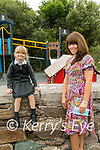 35 b2s Curraheen<br /> Katja is the new pupil in Curraheen NS, Glenbeigh pictured here with the Principal Karyna Corkery