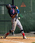 WATERBURY, CT 073021JS09 US9 Prospects Cam Letourneau  (55) makes contact during their Mickey Mantle World Series game against the CT Gamecocks Friday at Municipal Stadium in Waterbury. <br />  Jim Shannon Republican American
