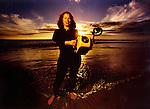Underwater photograher portrait on the beach for Orange County Register.