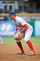 Reading Fightin Phils first baseman Rhys Hoskins (12) during a game against the New Hampshire Fisher Cats on May 30, 2016 at Northeast Delta Dental Stadium in Manchester, New Hampshire.  New Hampshire defeated Reading 9-1.  (Mike Janes/Four Seam Images)