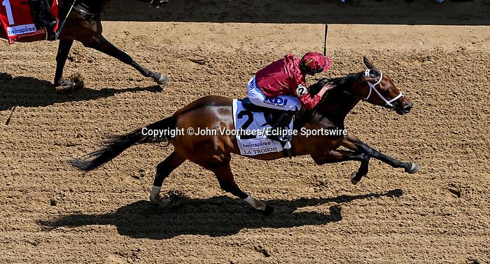 April 30, 2021 : Shedaresthedevil, #2, ridden by jockey Florent Geroux wins the La Troienne Stakes on Kentucky Oaks Day at Churchill Downs on April 30, 2021 in Louisville, Kentucky. John Voorhees/Eclipse Sportswire/CSM