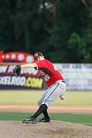 Carolina Mudcats pitcher Cole Brocker (45) on the mound during game one of a doubleheader against the Myrtle Beach Pelicans at Ticketreturn.com Field at Pelicans Ballpark on June 6, 2015 in Myrtle Beach, South Carolina. Carolina defeated Myrtle Beach 1-0. (Robert Gurganus/Four Seam Images)