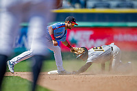 23 June 2019: New Hampshire Fisher Cats infielder Logan Warmoth gets Trenton Thunder outfielder Matt Lipka out stealing second in the 5th inning at Northeast Delta Dental Stadium in Manchester, NH. The Thunder defeated the Fisher Cats 5-2 in Eastern League play. Mandatory Credit: Ed Wolfstein Photo *** RAW (NEF) Image File Available ***