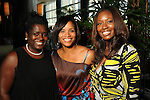 From left: T-na Johnson, Terri Gee and LaShandra Bradford at the Brentwood Scholarship Luncheon and Macy's Fashion Show at the Hilton Americas Hotel Sunday June 3,2012. (Dave Rossman/For the Chronicle)