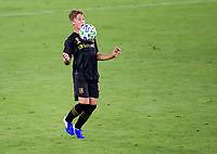 LOS ANGELES, CA - SEPTEMBER 23: Bryce Duke #19 of LAFC traps the ball during a game between Vancouver Whitecaps and Los Angeles FC at Banc of California Stadium on September 23, 2020 in Los Angeles, California.