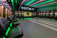 AUSTIN, TX - JUNE 19: A photo of the Austin FC locker room before a game between San Jose Earthquakes and Austin FC at Q2 Stadium on June 19, 2021 in Austin, Texas.
