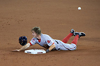 Boston Red Sox Brock Holt slides head first into second base during the MLB All-Star Game on July 14, 2015 at Great American Ball Park in Cincinnati, Ohio.  (Mike Janes/Four Seam Images)