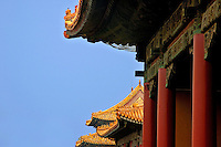 Tiled roofs on the Gate of Supreme Harmony, Forbidden City, Beijing, China.