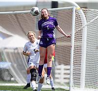 Helen Priest (5) of Fayetteville heads ball near St. Mary's Academy goal at Wildcat Stadium, Springdale, Arkansas, Friday, May 14, 2021 / Special to NWA Democrat-Gazette/ David Beach