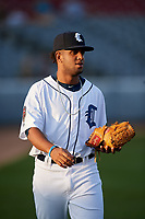 Connecticut Tigers pitcher Felix Viloria (56) walks to the dugout before a game against the Hudson Valley Renegades on August 20, 2018 at Dodd Stadium in Norwich, Connecticut.  Hudson Valley defeated Connecticut 3-1.  (Mike Janes/Four Seam Images)