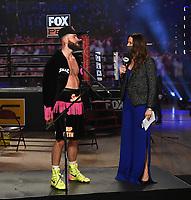 LOS ANGELES - JANUARY 30: Heidi Androl interviews Caleb Plant after he defeated Caleb Truax on Fox Sports PBC fight night at the Shrine Auditorium and Expo Hall in Los Angeles, California on January 30, 2021. (Photo by Frank Micelotta/Fox Sports)