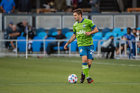 SAN JOSE, CA - MAY 12: Kelyn Rowe #22 of the Seattle Sounders controls the ball during a game between San Jose Earthquakes and Seattle Sounders FC at PayPal Park on May 12, 2021 in San Jose, California.