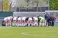 Team OHL pictured before a female soccer game between AA Gent Ladies and Oud Heverlee Leuven on the fourth matchday of play off 1 in the 2020 - 2021 season of Belgian Scooore Womens Super League , saturday 1 st of May 2021  in Oostakker , Belgium . PHOTO SPORTPIX.BE | SPP | STIJN AUDOOREN