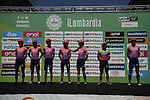 EF Education First team at sign on before the start of the 114th edition of Il Lombardia 2020, running 231km from Bergamo to Como, Italy. 15th August 2020.<br /> Picture: LaPresse/Marco Alpozzi | Cyclefile<br /> <br /> All photos usage must carry mandatory copyright credit (© Cyclefile | LaPresse/Marco Alpozzi)