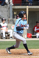 Ryan Flaherty #6 of the Tennessee Smokies at bat during a game against the Carolina Mudcats on April 20, 2010 in Zebulon, NC.