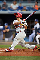 Palm Beach Cardinals first baseman Chris Chinea (5) follows through on a swing during a game against the Charlotte Stone Crabs on April 11, 2017 at Charlotte Sports Park in Port Charlotte, Florida.  Palm Beach defeated Charlotte 12-6.  (Mike Janes/Four Seam Images)