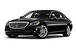 Stock pictures of low aggressive front three quarter view of 2019 Mercedes Benz S-Class - 4 Door Sedan Low Aggressive