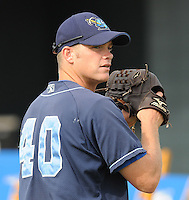 July 7, 2008: LHP Ben Swaggerty (40) of the Wilmington Blue Rocks, Class A affiliate of the Kansas City Royals, in a game against the Myrtle Beach Pelicans at BB&T Coastal Field in Myrtle Beach, S.C. Photo by:  Tom Priddy/Four Seam Image
