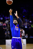 Dion Prewster of the Wellington Saints warms up before the round one NBL match between the Wellington Saints and the Canterbury Rams at TSB Bank Arena, Wellington, New Zealand on Friday 30 April 2021.<br /> Photo by Masanori Udagawa. <br /> www.photowellington.photoshelter.com