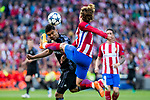 Danilo Luiz da Silva of Real Madrid competes for the ball with Antoine Griezmann of Atletico de Madrid during the match of Champions League between Atletico de Madrid and Real Madrid at Vicente Calderon Stadium in Madrid, May 10, 2017. Spain.