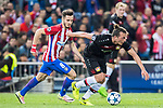 Julian Baumgartlinger (r) of Bayer 04 Leverkusen fights for the ball with Saul Niguez Esclapez of Atletico de Madrid during their 2016-17 UEFA Champions League Round of 16 second leg match between Atletico de Madrid and Bayer 04 Leverkusen at the Estadio Vicente Calderon on 15 March 2017 in Madrid, Spain. Photo by Diego Gonzalez Souto / Power Sport Images