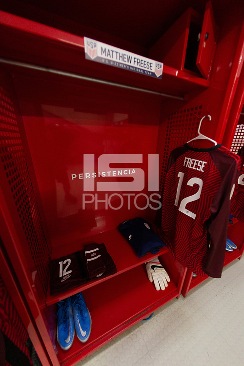 ZAPOPAN, MEXICO - MARCH 21: Jeresey of Matthew Freese #12 of the United States before a game between Dominican Republic and USMNT U-23 at Estadio Akron on March 21, 2021 in Zapopan, Mexico.